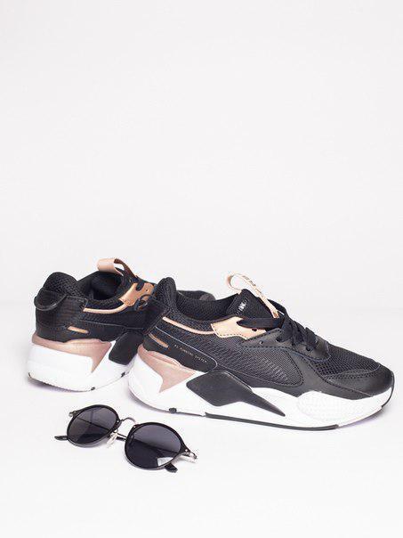 Женские кожаные кроссовки Puma Rs-x в черно-бежевом цвете