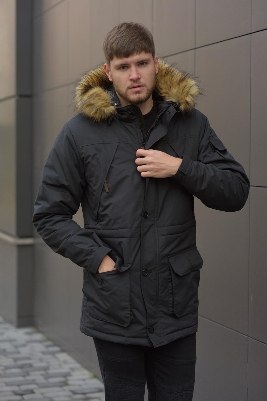 Зимняя мужская Аляска парка  Node Alaska black parka, теплая мужская куртка