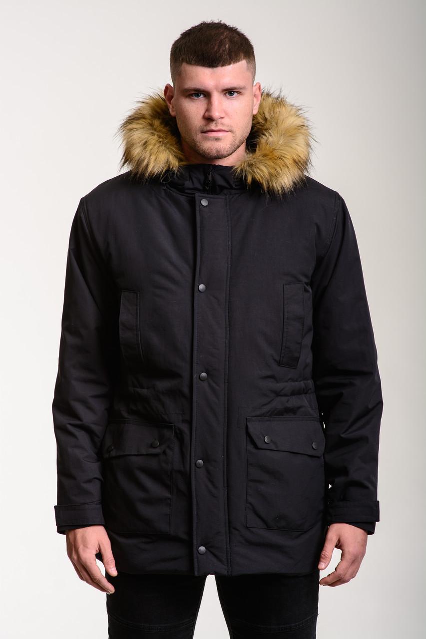 Чоловіча зимова куртка Node City black jacket, парку зимова чорного кольору