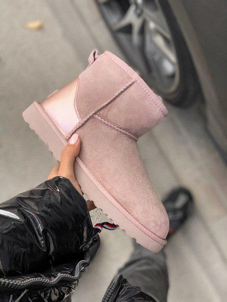 Короткі рожеві жіночі уггі UGG Преміум якість!