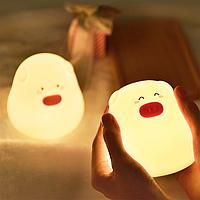 Сенсорный ночник светильник силиконовая Свинка Mini pig 7 режимов цветов, на батарейках