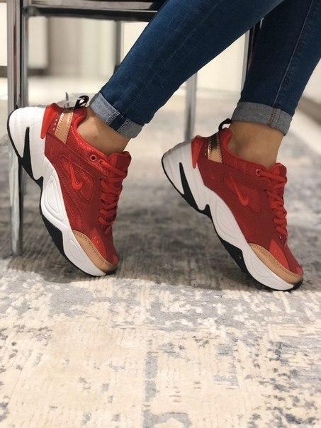 Красные женские кроссовки Nike Air M2K Tekno
