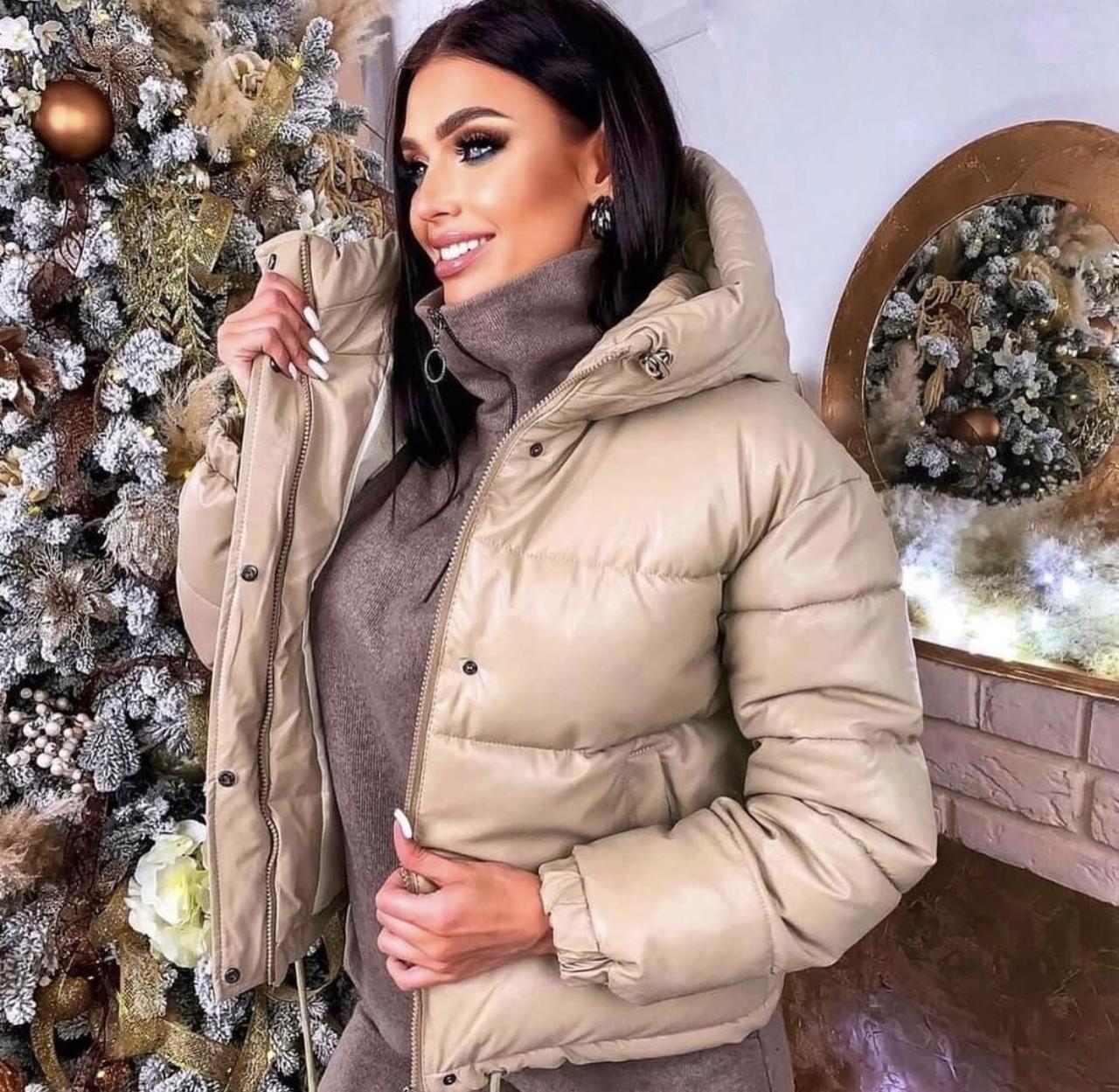 Куртка екошкіра, куртка екокожа жіночий Бежевий