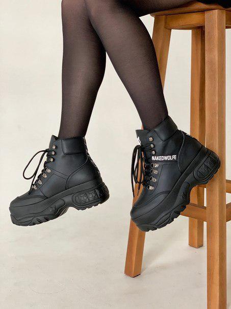 Женские ботинки Nakеd Wolfe (черные и белые)