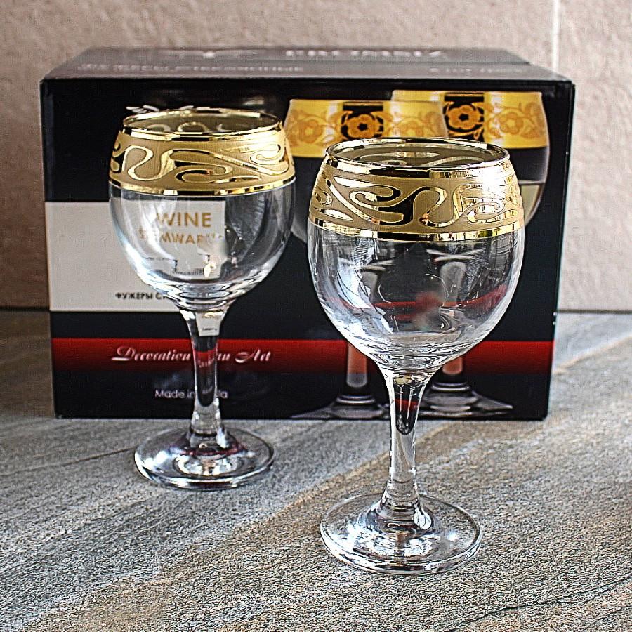 Набір келихів для вина з золотом 6 шт Гусь-Хрустальний Лагуна 260 мл (EAV259-411/S)