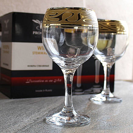 Набір келихів для вина з золотом 6 шт Гусь-Хрустальний Лагуна 260 мл (EAV259-411/S), фото 2