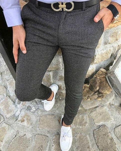 Серые мужские коттоновые брюки, Турция