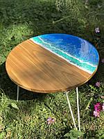 Журнальный столик лофт деревянный с эпоксидной смолой, стол из дерева кофейный ручной работы, стол с морем