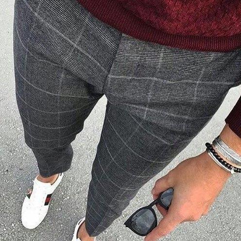Модные клетчатые мужские брюки, Турция