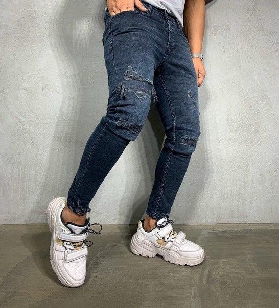 Узкие мужские джинсы, рваные