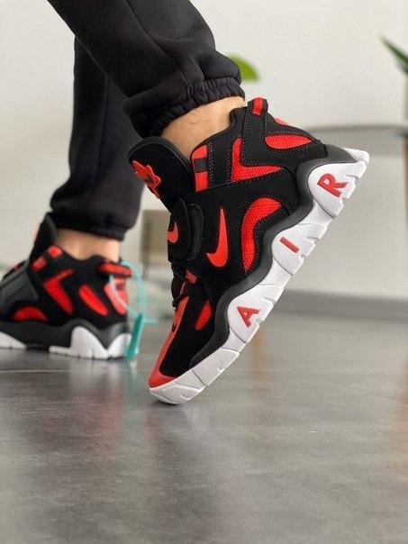 Чоловічі стильні кросівки Nike Air Barrage Mid QS University Black Red White