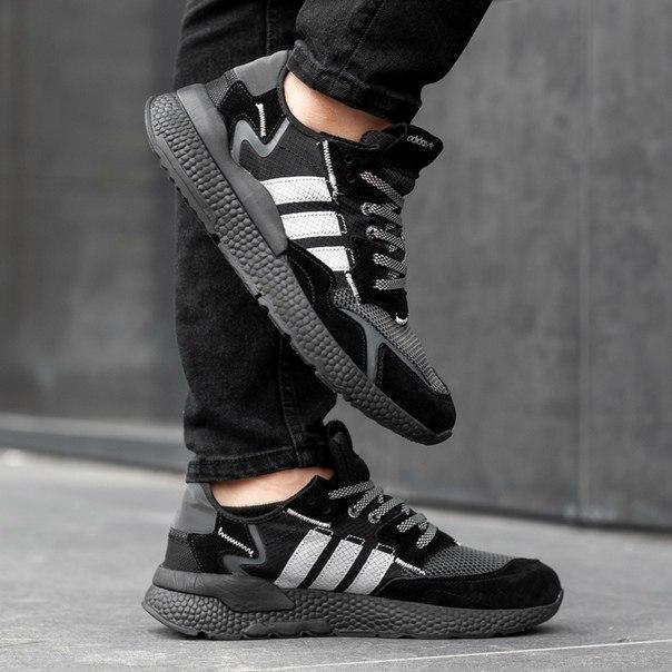 Мужские кроссовки Adidas Nite Jogger grey, ретро-дизайн