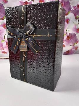 Подарочная коробочка прямоугольная черная лаковая с крышкой с  бантом под кожу крокодила
