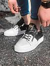 Чорні-білі чоловічі кросівки зі шкіри, фото 2