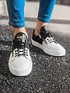 Чорні-білі чоловічі кросівки зі шкіри, фото 3