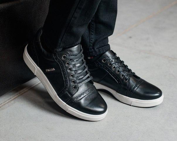 Черные кожаные мужские кроссовки
