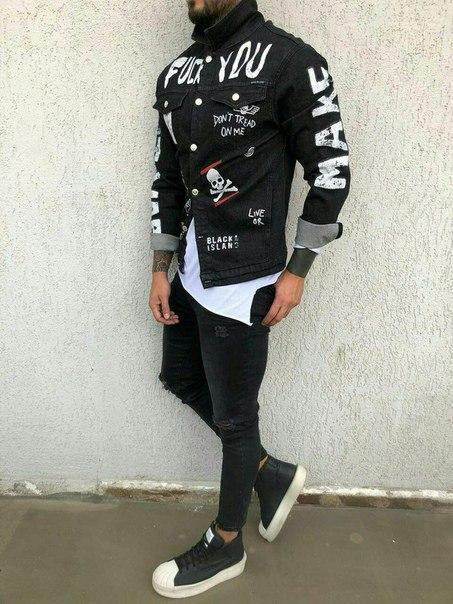 Джинсова сорочка чоловіча з принтом