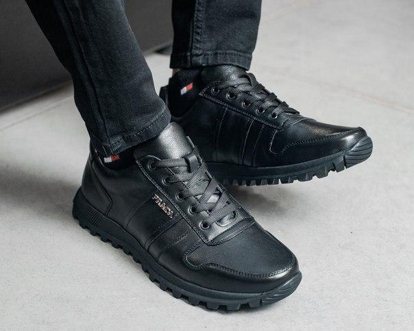 Модні чоловічі шкіряні кросівки, чорні