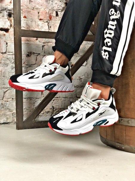 Чоловічі чорно-білі кросівки Reebok амортизуюча підошва DMX