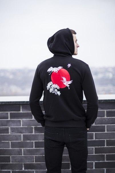 "Мужская кофта-кенгуру Pobedov kangaroo jacket ""Lebedi"", рисунок - шелкография"