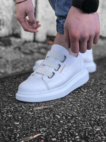 Модные мужские кожаные кроссовки, белые