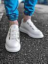 Модные мужские кожаные кроссовки, белые, фото 2