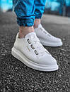 Модные мужские кожаные кроссовки, белые, фото 3