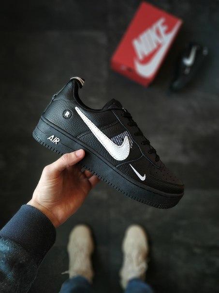 Шкіряні чорні кросівки Nike Air Force Just Do It, дві моделі
