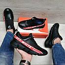 Шкіряні чорні чоловічі кросівки Nike Off White Cross Red Line, фото 4