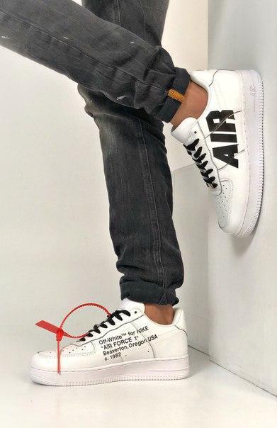 Чорно-білі чоловічі кросівки Nike з натуральної шкіри