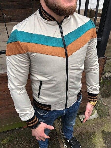 Мужская куртка-бомбер со вставками велюра, Турция