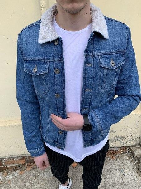 Чоловіча блакитна джинсовці на хутрі, Висока якість