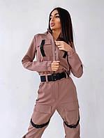 Женский костюм с брюками-карго декорированный застежками-фастекс (С и М, пояс +70грн. ), фото 1