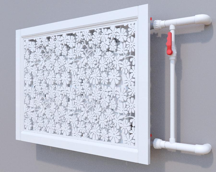 Декоративная решетка на батарею SMARTWOOD | Экран для радиатора | Накладка на батарею Решетка, Грунтованная,
