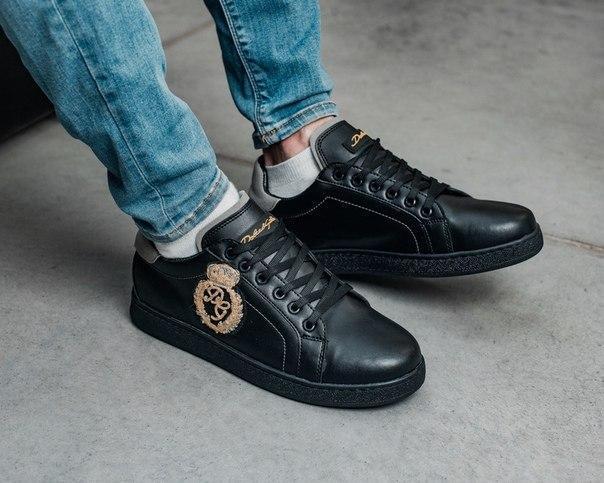 Модные мужские кроссовки из эко-кожи