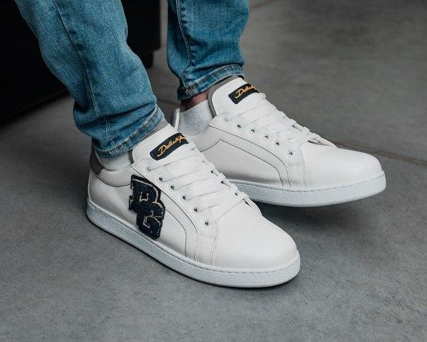 Мужские стильные кроссовки из эко-кожи, два цвета