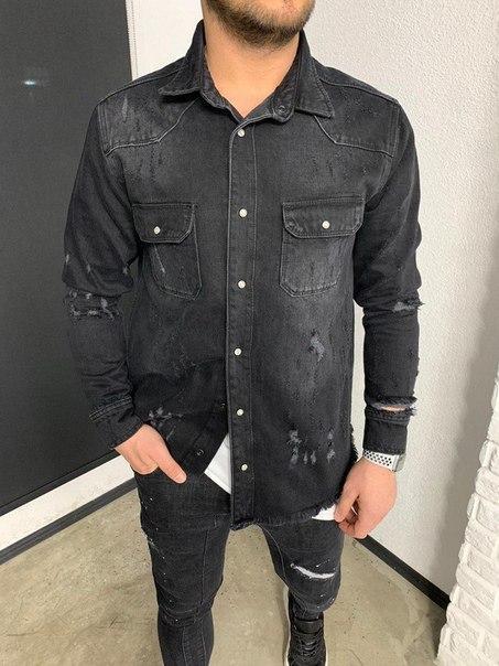 Джинсова сорочка чоловіча чорна