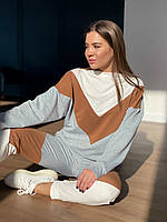 Женский прогулочный спортивный костюм, двунитка. Размер: 42-44, 46-48. Цвет: серый+коричневый+молоко.