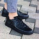 Мужские кожаные черные кеды АХ, фото 3