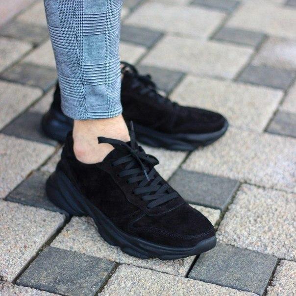 """Чоловічі чорні замшеві кросівки """"Стріт"""""""