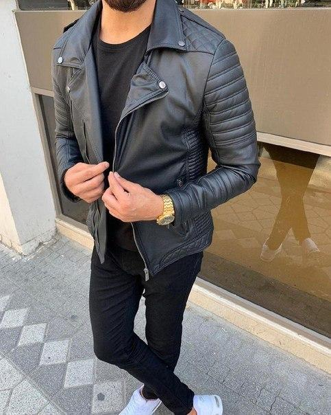 Мужская модная куртка-кожанка