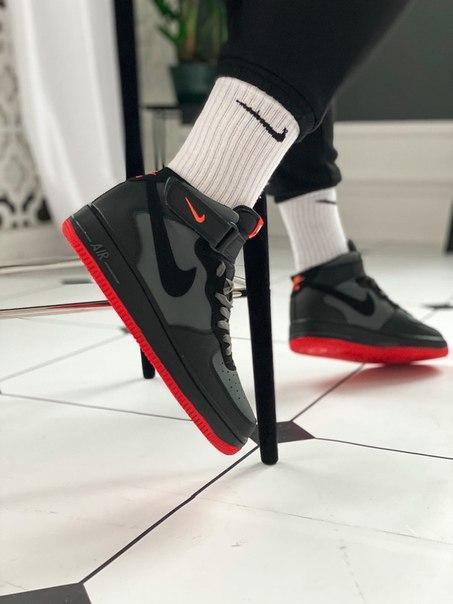 Мужские кроссовки Nike Air Force 1 Men High Perf на красной подметке