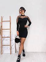 Стильное платье с потайной змейкой и сеткой горох
