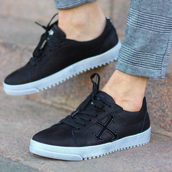 Мужские кожаные черные кеды OW топ качество