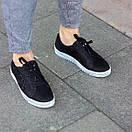 Мужские кожаные черные кеды OW топ качество, фото 3