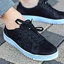 Мужские кожаные черные кеды OW топ качество, фото 4