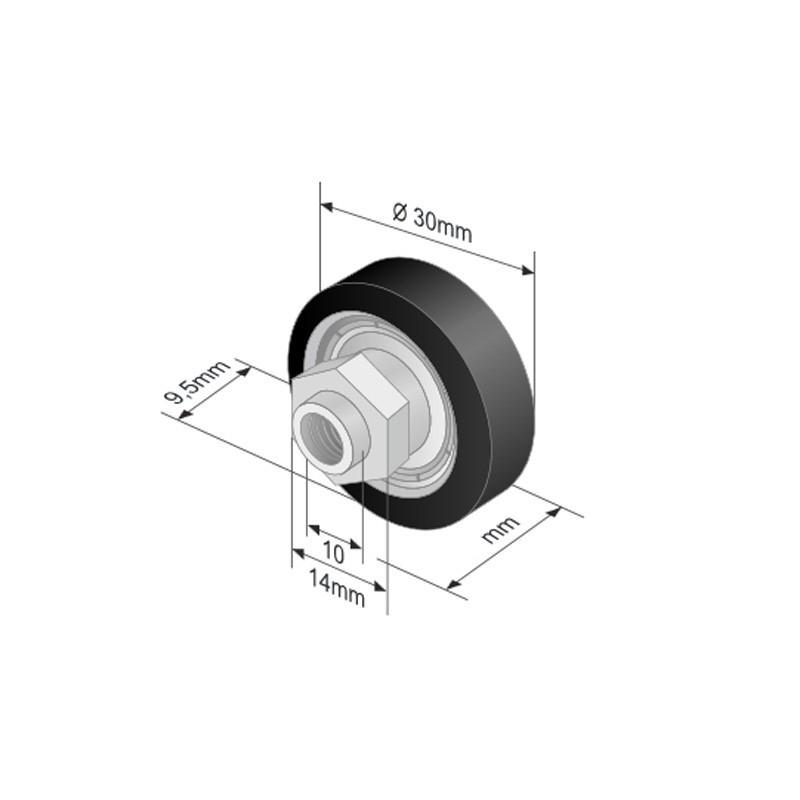 Ролик для зсувного даху (30х9,5х18)