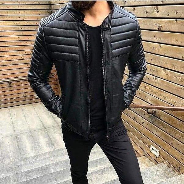 Стильная мужская куртка из эко-кожи