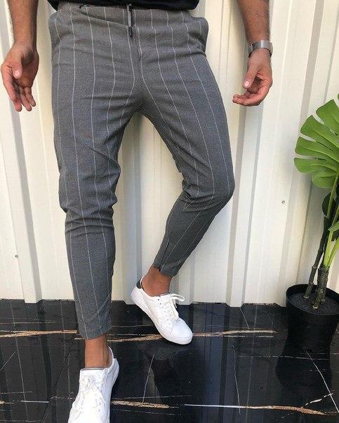 Мужские зауженные брюки Slim Fit в тонкую полоску, Турция (два цвета)