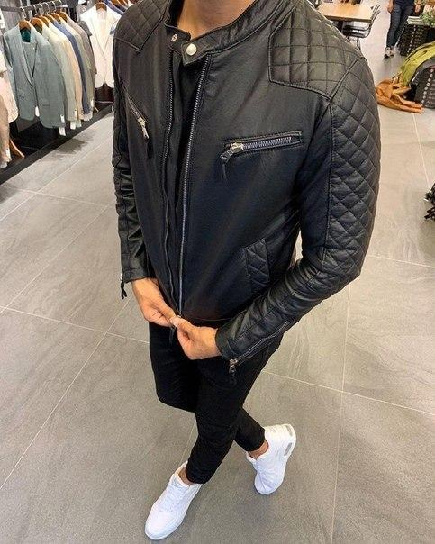 Чорна чоловіча куртка з еко-шкіри, Туреччина
